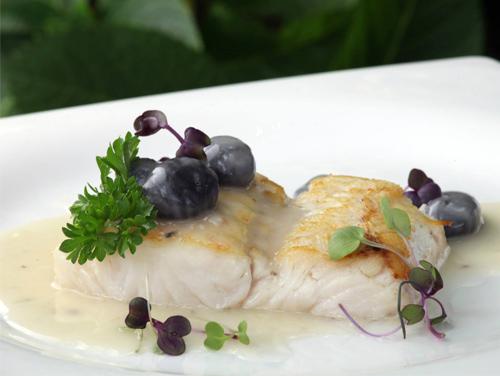 Restaurante Los Cedros | Merluza de Pincho al Horno sobre Crema de Espárragos Verdes y Calamar de Potera